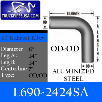 "L690-2424SA 6"" 90 Degree Exhaust Elbow 24"" x 24"" OD-OD Aluminized L690-2424SA"