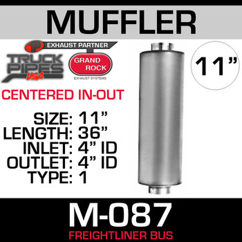 "M-087 Type 1 Muffler for Freightliner Bus 11"" x 36"" 4"" IN-OUT"