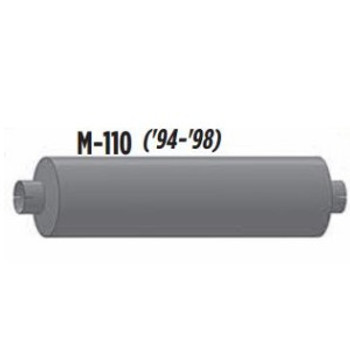 """M-110 M-110 Type 1 Muffler 8.5"""" Round x 29.5"""" Body  3.5"""" IN 4"""" OUT 36"""" Overall"""