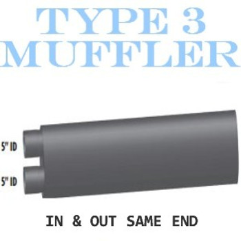 "M-116 M-116 Type 3 Oval Muffler 10"" x 15"" x 36"" Long 5"" IN-OUT"