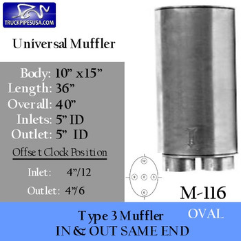 """M-116 Type 3 Oval Muffler 10"""" x 15"""" x 36"""" Long 5"""" IN-OUT"""