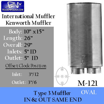 "Type 3 Muffler 10"" x 15"" Oval 26"" Body 5"" IN-OUT (M-121 or 15902) MFM12-040-171"