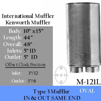 "MOM12-0450-171 Oval Muffler 10"" x 15"" x 44"" Body 2037707C1"