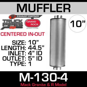 "Mack Granite & R Model Muffler 10"" Round x 44"" 4"" Inlet - 5"" Outlet"