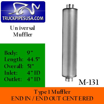"Type 1 Muffler 9"" Round 4"" Inlet - Outlet 44.5"" Body - 51"" Overall (M-131)"