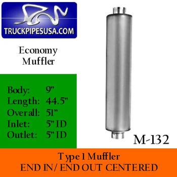 """Type 1 Muffler 9"""" Round x 44.5 """" Body 5"""" In-Out 51"""" Overall"""