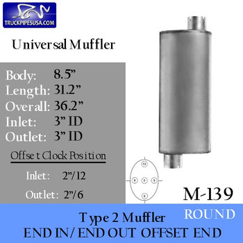 """Type 2 Muffler 8.5"""" Round x 31"""" 3"""" Inlet - Outlet (M-139)"""
