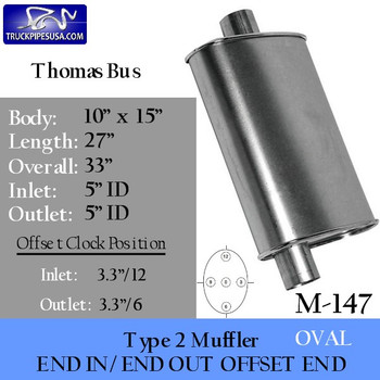 "Type 2 Oval Muffler 10"" x 15"" x 26"" with 5"" Inlets for Thomas School Bus (M-147)"