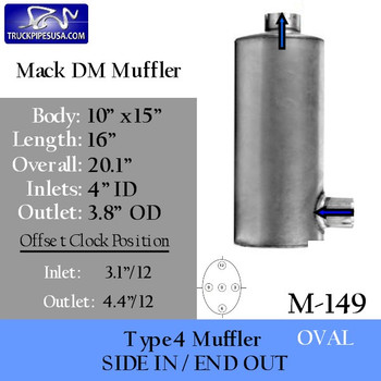 "Mack DM Muffler 10 x 15 Oval 4"" Inlet 3.8"" OD Outlet 16"" long"