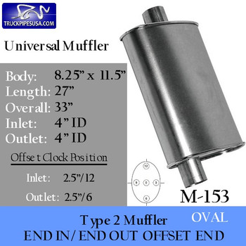 """M-153 Type 2 Oval Muffler 8.25"""" x 11.5"""" x 27"""" 4"""" IN-OUT"""
