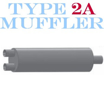 """M-185 M-185 Type 2A Oval Muffler 8.25"""" x 11.5"""" x 27"""" - 2.75"""" IN-4"""" OUT"""