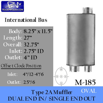 """Type 2A Muffler for International School Bus 2.75"""" ID Inlet-Outlets (M-185)"""