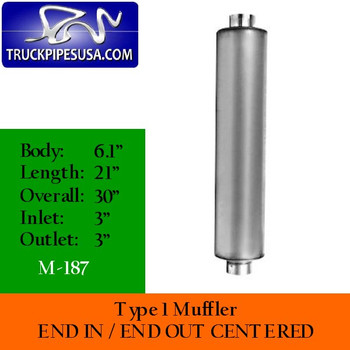"""M-187 Type 1 Muffler 3"""" Inlet-Outlet 6.1"""" x 21"""" Body - 30"""" Overall"""