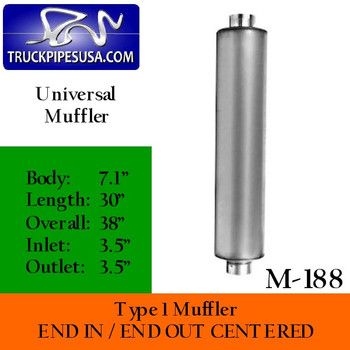 """Type 1 Muffler 7.1"""" x 30"""" Body 3.5"""" Inlet/Outlet 38"""" Overall"""