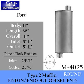 """Type 2 Muffler 5 """"ID IN-OUT 11"""" x 36"""" for Ford/Sterling Car Hauler"""