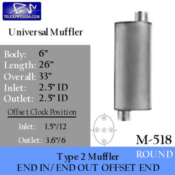 "Type 2 Muffler 6"" Round x 26"" 2.5"" IN-OUT"