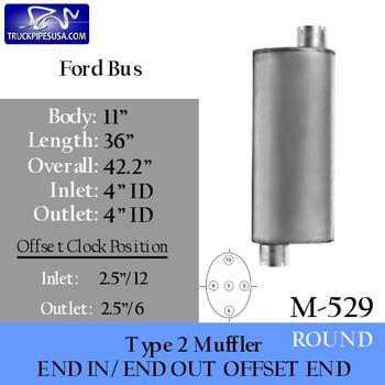 "Type 2 Muffler for Ford School Bus 11"" x 36""- 4"" ID-ID Centered Inlet (M-529-CI)"