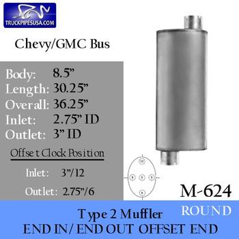 """Type 2 Muffler for Chevrolet-GMC 8.5"""" x 30.25"""" (M-624)"""