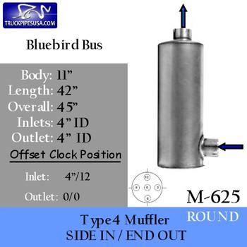 "Type 4 Bluebird Bus Round Muffler 11"" x 42"" 4""IN-OUT (M-625)"