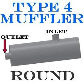 """M-724 M-724 Type 4 Round Muffler 11"""" x 36"""" 4"""" IN-OUT"""