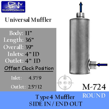 """Type 4 Round Muffler 11"""" x 36"""" 4"""" IN-OUT (M-724)"""