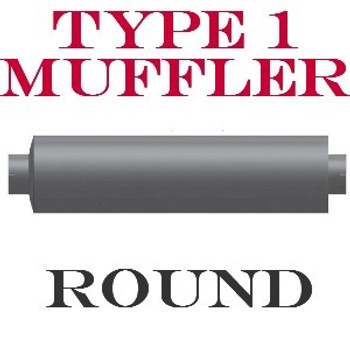 "M-824 Type 1 Powerflow Muffler 8"" Round x 15"" Body 4"" IN-OUT 21.5 Overall"