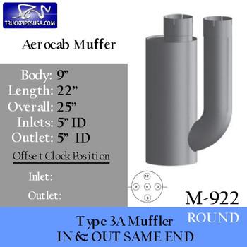 M-922 or 15937 M-922 Type 3A Kenworth Aerocab High Performance Muffler