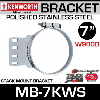 "7"" Kenworth Stack Mount Bracket Polished Stainless Steel MB-7KWS"