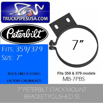 "MB-7PBS MB-7PBS 7"" Peterbilt Stack Mounting Bracket Polished SS"