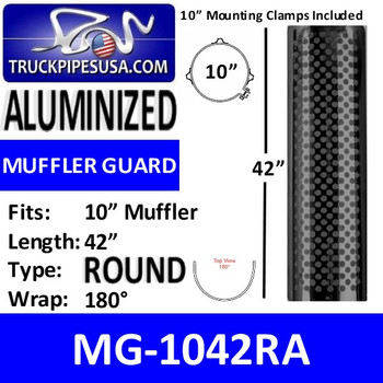 "MG-1042RA 10"" x 42"" 180 Degree Shield Round Holes Aluminum"