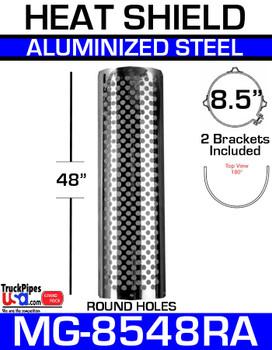 "8.5"" x 48"" Muffler Guard Round Hole Aluminized MG-8548RA"