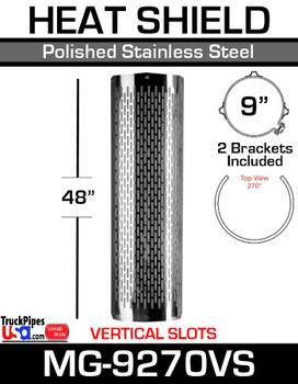 """9"""" x 48"""" 270 Degree Muffler Guard Vertical Slot Stainless Steel MG-9270VS"""