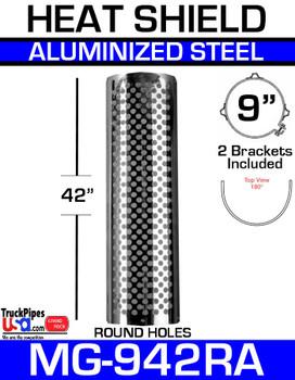 "9"" x 42"" Muffler Guard Round Hole Aluminum MG-942RA"