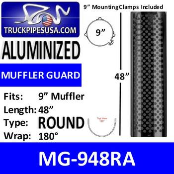"""MG-948RA 9"""" x 48"""" Muffler Guard Round Holes Aluminized"""