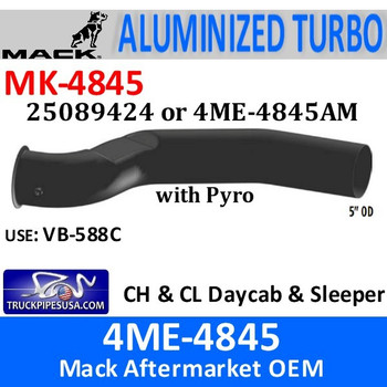 25089424 or 4ME-4845AM Mack CH & CL Turbo Pipe with Pyro