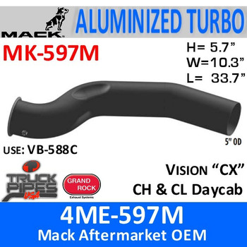 4ME-597M Mack Vision/CH Turbo Exhaust Pipe MK-597M