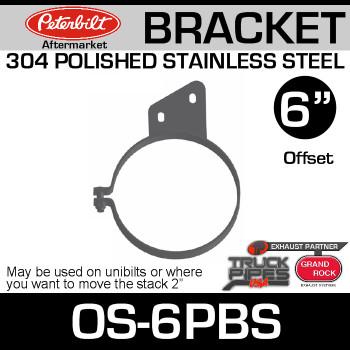 "6"" Peterbilt Offset Stack Mount Bracket Polished SS OS-6PBS"