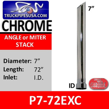 """7"""" x 72"""" Miter or Angle Cut Chrome Stack ID P7-72EXC"""