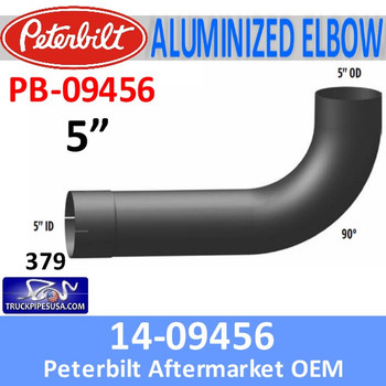PB-09456 14-09456 Peterbilt 379 Exhaust 90 Degree Aluminized Elbow PB-09456