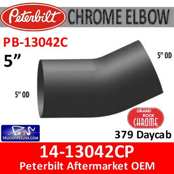 14-13042CP Peterbilt 379 Daycab Chrome Exhaust Elbow PB-13042C