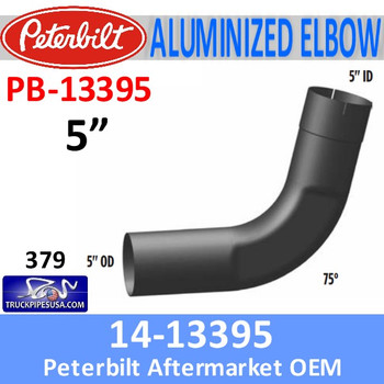 PB-13395 14-13395 Peterbilt 75 Degree Aluminized Exhaust Elbow PB-13395