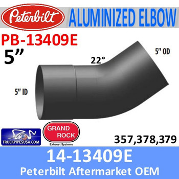 14-13409E Peterbilt 357,378,379 Aluminized Exhaust Elbow PB-13409-E