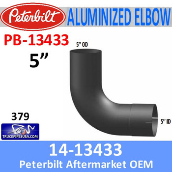 PB-13433 14-13433 Peterbilt 379 Exhaust 90 Degree Aluminized Elbow PB-13433