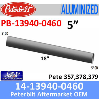 "PB-13940-0460 14-13940-0460 Peterbilt 357,378,379 Center Pipe for Dual Exhaust 5"" x 18"""