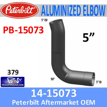PB-15073 14-15073 Peterbilt 379 Exhaust 90 Degree Aluminized Elbow PB-15073