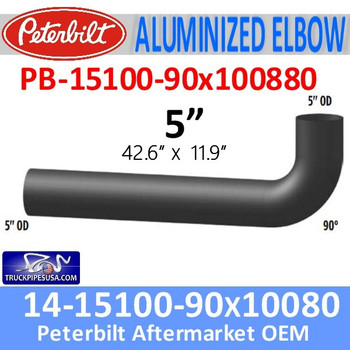 "PB-15100-90X100880 14-15100-90x100880 Peterbilt Exhaust 5"" 90 Degree Aluminized Elbow"