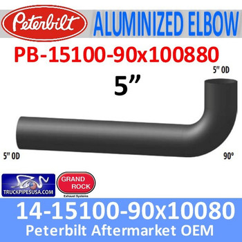 "14-15100-90x100880 Peterbilt Exhaust 5"" 90 Degree Aluminized Elbow"