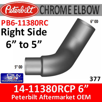 "PB6-11380RC 14-11380RCP 6"" to 5"" Right Side Peterbilt 377 Chrome Elbow PB6-11380RC"