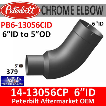 "PB6-13056CID 14-13056 6"" ID to 5"" OD Peterbilt 379 Chrome Elbow PB6-13056CID"