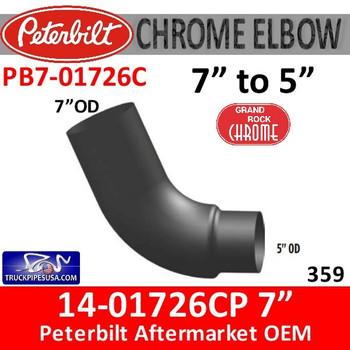 "14-01726 7"" Version Peterbilt 359 With 5"" OD Reducer Chrome"